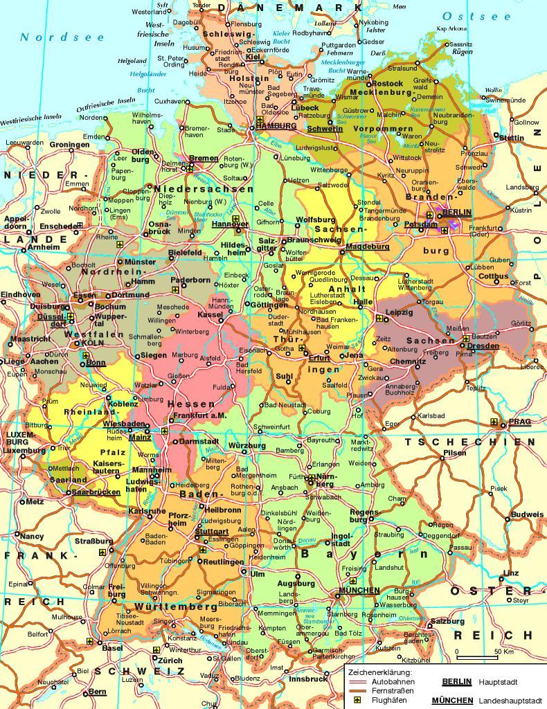 Deutschland-Autobahn-map - Karte von Deutschland Autobahn (Western ...