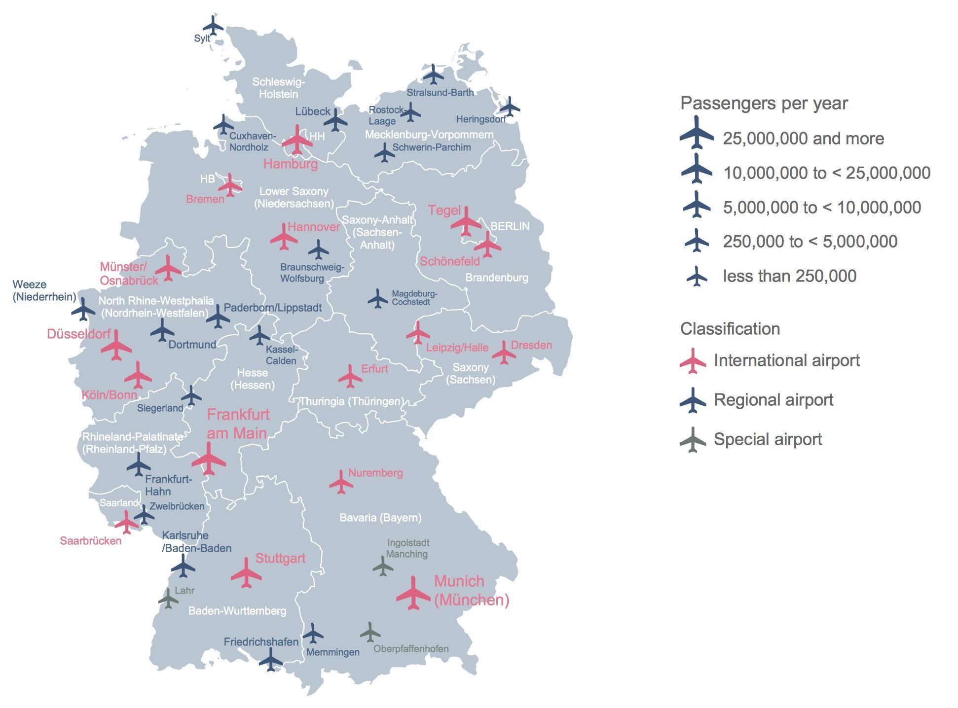 Flughäfen Deutschland Karte.Deutschland Flughafen Karte Deutschland Karte Zeigt Flughäfen
