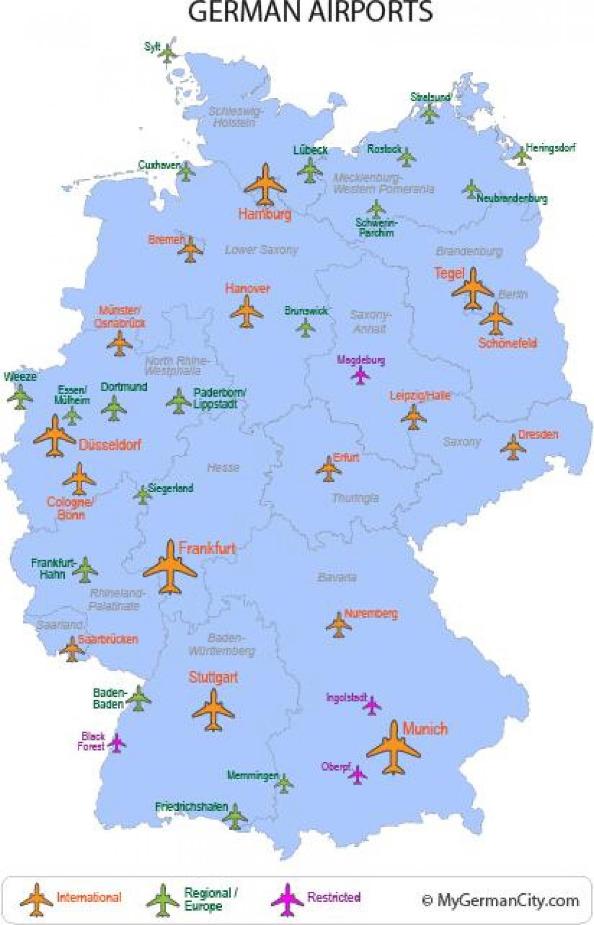 Internationale Flughafen In Deutschland Karte Grosse Flughafen In
