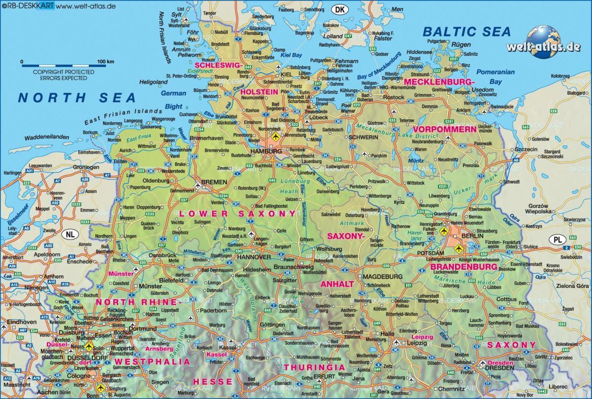 Karte Von Europa Mit Städten.Karte Von Nord Deutschland Karte Von Norddeutschland Mit Den