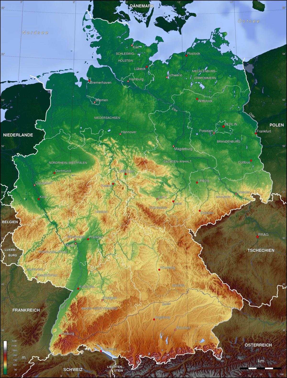 Physische Landkarte von Deutschland - deutschlandkarte physisch ... - Bonn Karte Deutschland